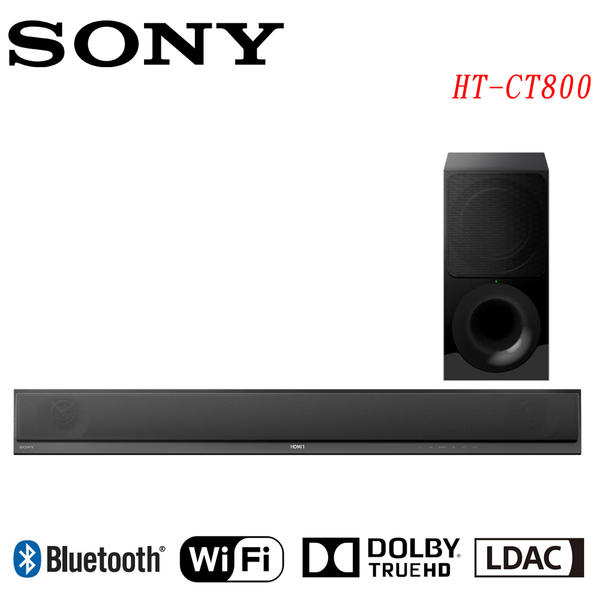 《送光纖線3米&USB碟32GB》SONY索尼 4K HDR WiFi Soundbar+無線重低音組HT-CT800