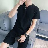 棉麻套裝 棉麻短袖男土中國風亞麻半袖上衣服V領流體恤衫男裝 米蘭shoe