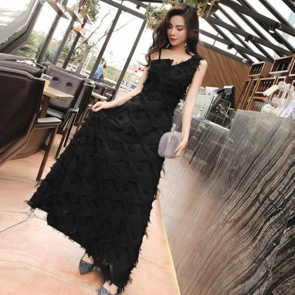 夏季新款女韓版氣質名媛無袖單肩禮服長裙收腰顯瘦流蘇洋裝