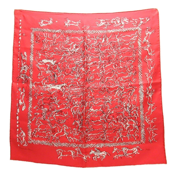 HERMES 愛馬仕 紅色手繪風牧場圖案絲質方巾 RANCH BANDANA 55CM Scarf 【BRAND OFF】