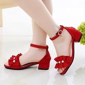 涼鞋 女童高跟涼鞋2020新款夏季軟底小女孩12學生公主中大童15歲兒童鞋