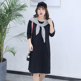 中大尺碼~休閒簡約兩件式長袖洋裝(XL~4XL)
