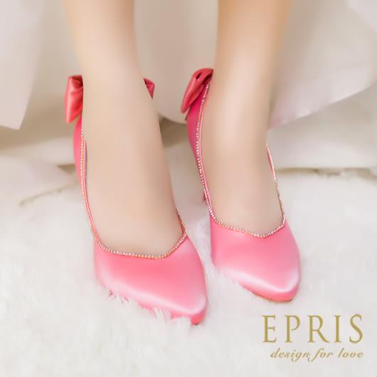 現貨 尖頭鞋新娘婚鞋推薦 海洋女神 水鑽蝴蝶結真皮羊皮鞋墊細跟高跟鞋 22-25 EPRIS艾佩絲-甜美粉