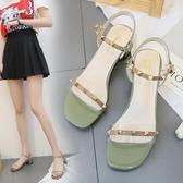 粗跟涼鞋女透明一字帶高跟鞋