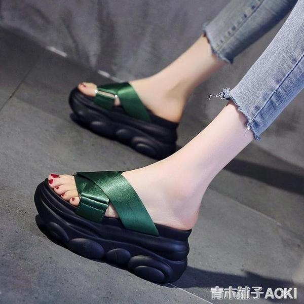 厚底拖鞋女網紅2020夏季新款韓版外穿厚底楔形增高時尚休閒鬆糕涼拖潮 青木鋪子