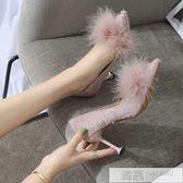 公主鞋尖頭細跟高跟鞋氣質布面毛毛淺口單鞋女潮 韓慕精品