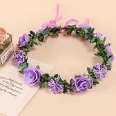 [紫色+紫碎花 人造花髮帶 仿真花花圈 花冠假花環] 婚禮小物 生日禮物 求婚&畢業表演花禮