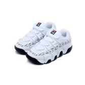 FILA 女款麂皮側邊邊條滿版LOGO白色老爹鞋-NO.4B007U110