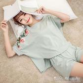 睡衣女夏純棉兩件套裝韓版清新學生短袖寬鬆少女夏天家居服可外穿 晴天時尚館
