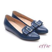 effie 輕透美型 真皮蝴蝶結飾尖楦內增高平底鞋 藍色