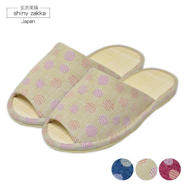 日本室內拖鞋-amis塌塌米涼蓆-圓點圖樣23~24.5三色-玄衣美舖
