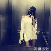 chic風網紅同款微透性感露肩寬鬆t恤薄款上衣女防嗮 初語生活館