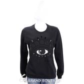 KENZO 黑色刺繡珠飾眼睛圖騰棉質長袖T恤 1540431-01