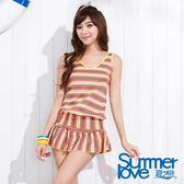 【SUMMERLOVE夏之戀】亮麗條紋長版二件式泳衣-加大碼-S15709