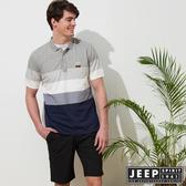 【JEEP】漸層造型質感短袖POLO衫-灰