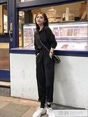 黑色連身褲女秋季2020新款韓版寬鬆繫帶高腰休閒褲百搭闊腿直筒褲  4.4超級品牌日