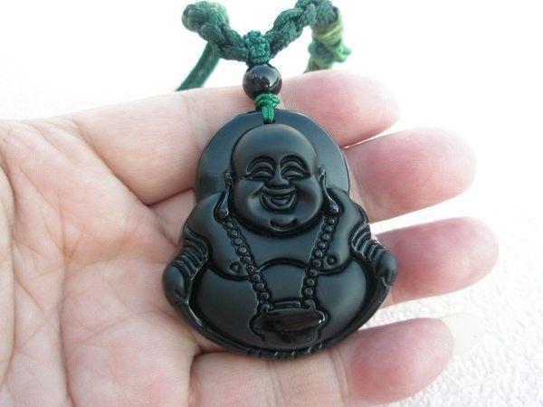 【歡喜心珠寶】【大尊彌勒佛法像墜子】天然黑曜岩雕「附保証書」 彌勒佛亦稱財神,尋找有緣人