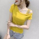 一字領上衣 短袖t恤女夏季性感斜露肩上衣洋氣百搭修身半袖小衫-Ballet朵朵