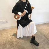 中大尺碼衛衣洋裝 秋季新款韓版寬鬆長袖松松垮垮衛衣裙拼接中長款洋裝女 DR1026 【KIKIKOKO】
