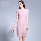 中大尺碼洋裝 蕾絲短袖A字短袖俏麗連身裙 L-5XL #yz11829 @卡樂@
