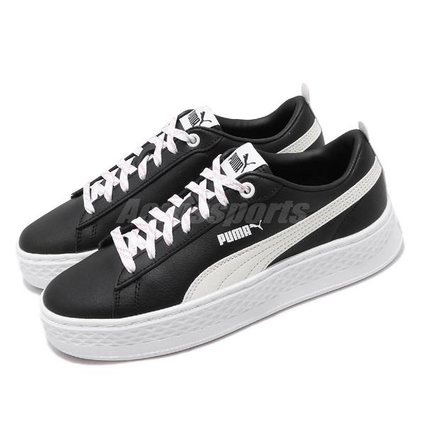 Puma 休閒鞋 Smash Platform Q4 Polka 黑 白 女鞋 運動鞋 【ACS】 369833-03