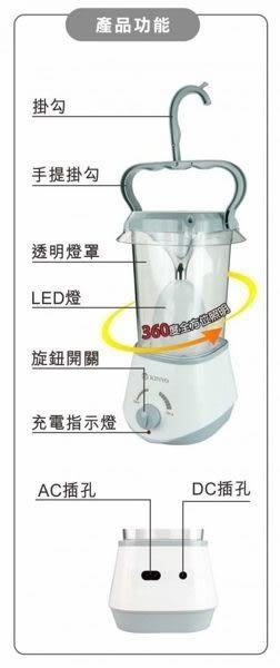 耐嘉KINYO 耐嘉 充電式露營燈 手提掛勾 高亮度 露營 停電 緊急照明燈 CP-02