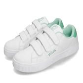 Fila 休閒鞋 C310T 白 綠 小白鞋 魔鬼氈 厚底 皮革鞋面 女鞋 運動鞋【PUMP306】 5C310T116