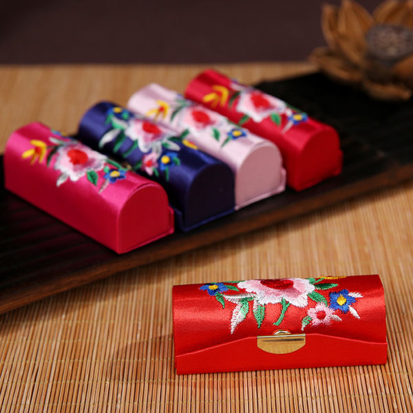 618年㊥大促 中國風刺繡綢緞口紅唇彩收納盒化妝盒補妝盒