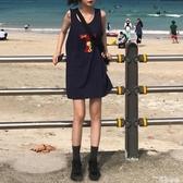 2020新款夏季韓版中長款背心裙女寬鬆卡通無袖T恤顯瘦外穿連身裙 唯伊