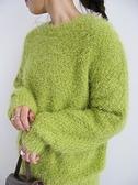 「Hot item」蓬鬆毛絨圓領針織衫 - Green Parks