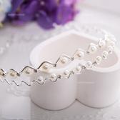 [大童款]小公主~亮澤珍珠鑲鑽波浪造型髮圈髮箍(P11609)【水娃娃時尚童裝】