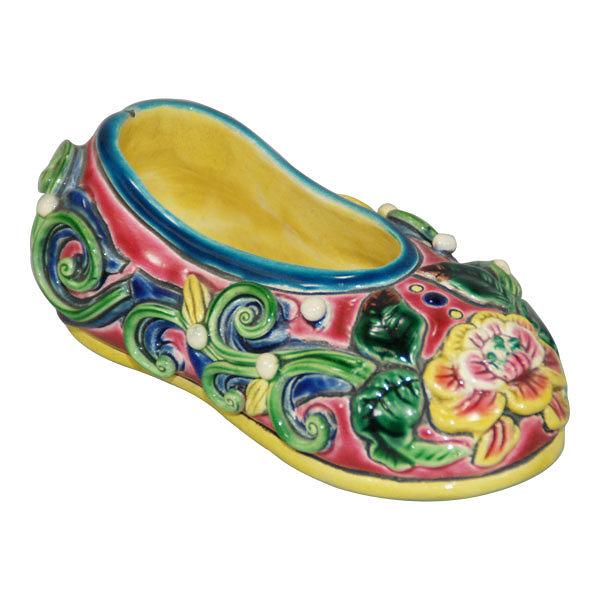 鹿港窯-居家開運交趾陶擺飾【繡花鞋】一件◆附精美包裝