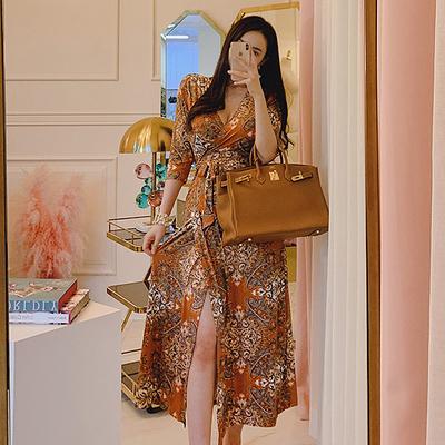 洋裝春夏新款法式復古印花v領裹身裙開叉修身一片式長裙3821NAA71A快時尚