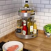 廚房收納架 廚房調料架可旋轉台面雙層調料置物架調味品架佐料調料瓶盤收納盒【快速出貨】