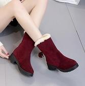短靴 2021韓跟短靴春秋絨面學生單靴中筒流蘇靴冬季棉靴加絨女鞋雪地靴 艾維朵