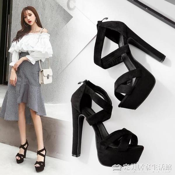 歐美款T臺高跟女鞋14cm超高粗跟夏季涼鞋 模特走秀舞臺演出鞋 完美居家