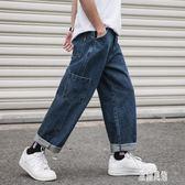 工裝牛仔長褲男士寬鬆大碼胖子薄款休閒直筒褲9九分長褲子 LR9128【原創風館】