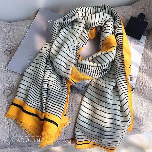 《Caroline》★ 本年度新款秋冬百搭條紋仿羊絨披肩  質地細膩舒適柔軟兩用圍巾71737