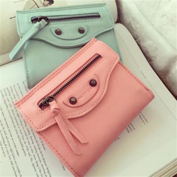 韓版復古鉚釘拉鍊裝飾機車錢包女士女用零錢包皮夾長夾非中夾短夾手拿包#JU42009