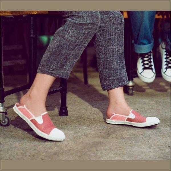 後踩鞋,懶人鞋,輕便布鞋,台灣製造,雙色搭配 (西瓜紅)