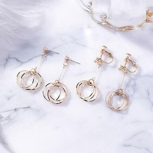 【NiNi Me】夾式耳環 耳環925銀針氣質甜美水鑽圓圈耳針 夾式耳環 E0165