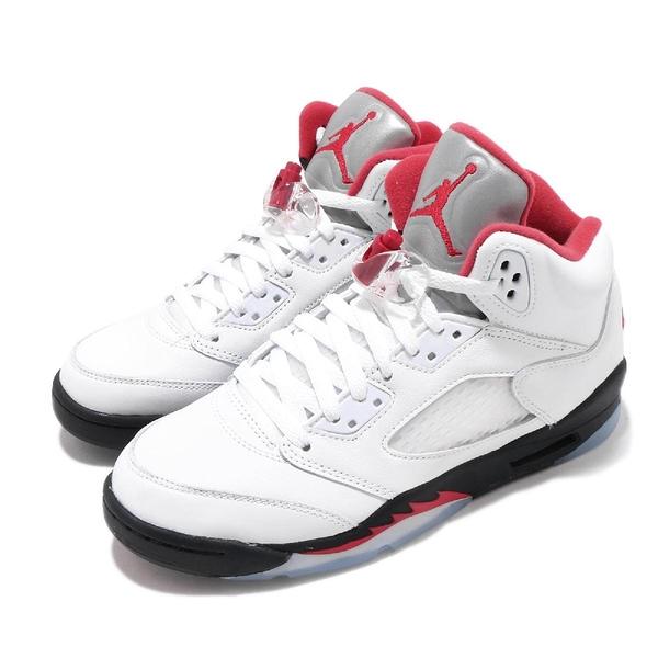 Nike Air Jordan 5 Retro GS Fire Red 白 紅 黑 女鞋 AJ5 流川楓 喬丹 籃球鞋【PUMP306】 440888-102