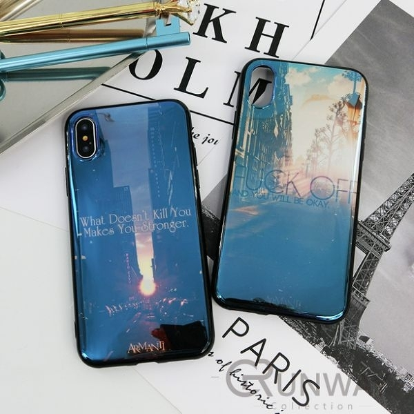 【R】街景 風景 鐳射藍光 質感 手機殼 歐美簡約風 蘋果 iPhone 8 plus Xs Max XR 全包邊軟殼