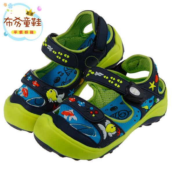 《布布童鞋》GP防水快乾磁扣式悠遊小魚藍綠色兒童運動涼鞋(18~22公分) [ G7E10BB ] 藍綠款