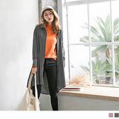 《DA5303》柔色調豎壓紋打褶袖長版襯衫洋裝/外套 OrangeBear