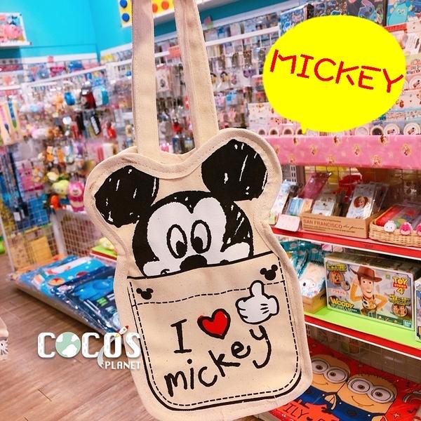 正版 迪士尼 米奇米妮 帆布手提袋 飲料提袋 收納袋 購物袋 米奇愛心款 COCOS DK280