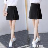 短裙 高腰A字裙褲女夏季新款雪紡側開叉半身裙學生不規則包臀短裙 金曼麗莎