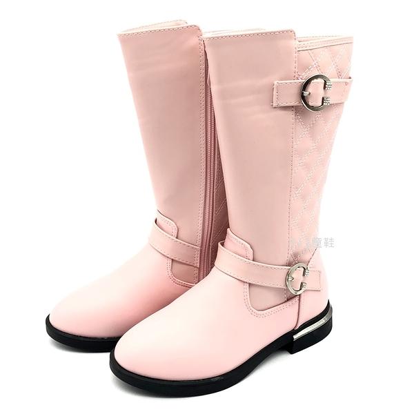 《7+1童鞋》中大童 幾何菱格紋 皮靴  長靴  A757  粉色