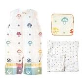 日本 Hoppetta 蘑菇六層紗成長型睡袍+童趣蘑菇竹纖維紗布巾+蘑菇手帕