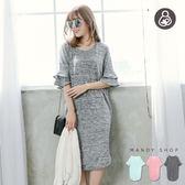 *蔓蒂小舖孕婦裝【M8091】*台灣製.哺乳衣.粉嫩雙層荷葉袖中長洋